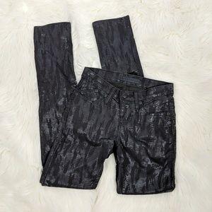 Rock & Republic Berlin Black Snakeskin Skinny Jean